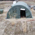 米軍かまぼこ型テント設置作業
